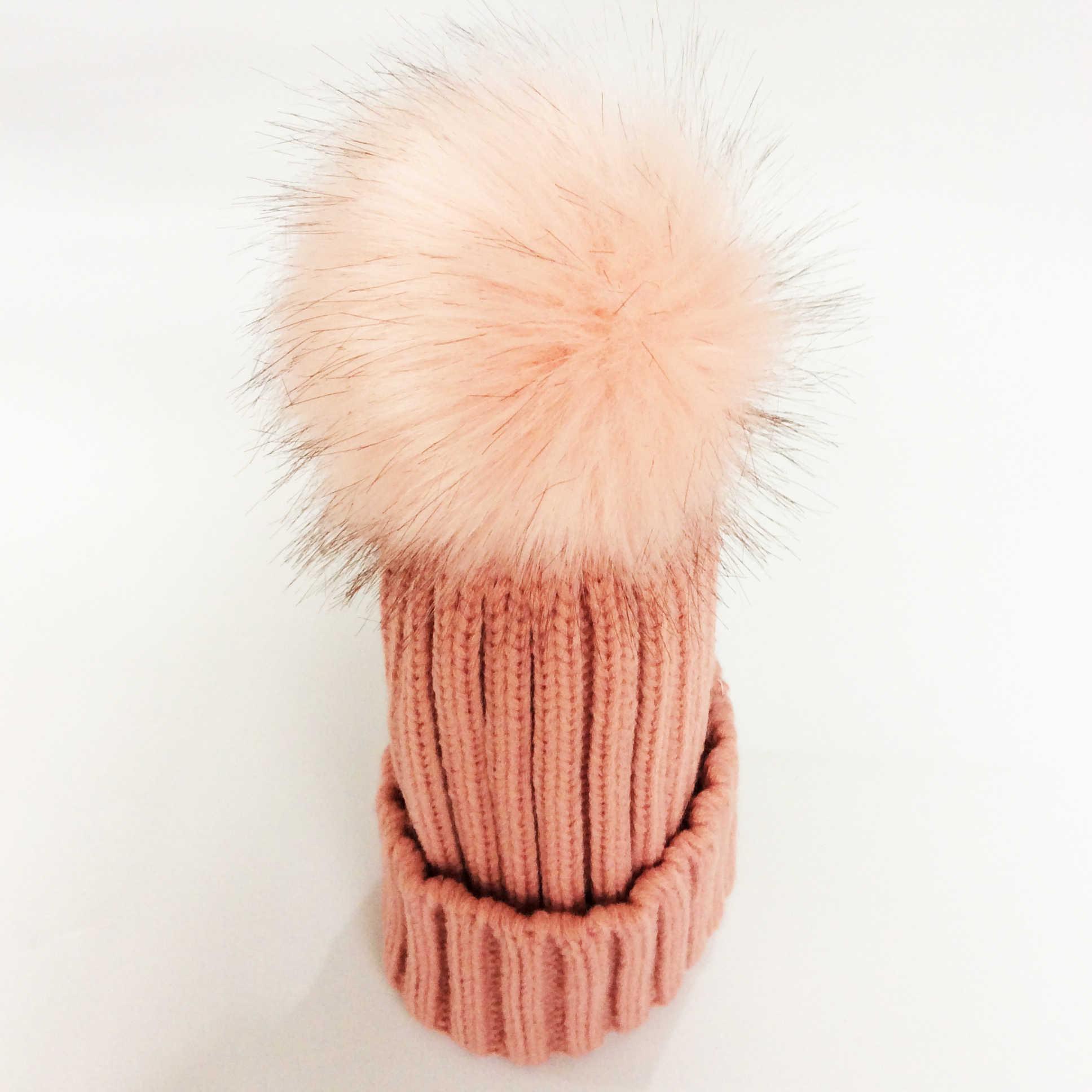 เด็กหมวกฤดูหนาวF Auxขนหมวกสำหรับสาวโครเชต์หมวกเด็กหมวกปลอมแรคคูนผมเด็กหมวก
