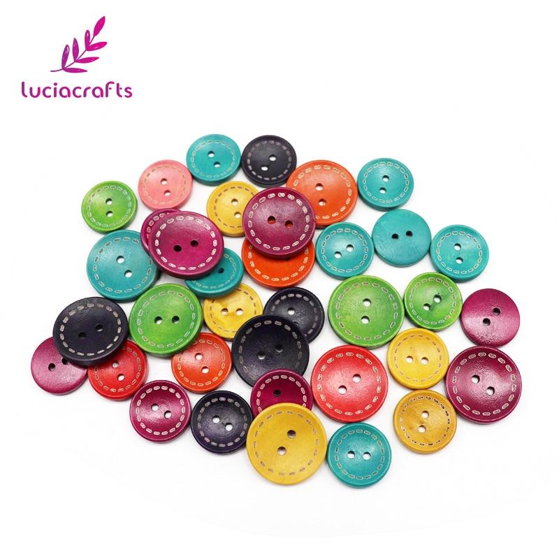 Lucia ремесла 12 шт 20 мм/25 мм случайным образом Смешанные Круглые деревянные пуговицы для одежды DIY шитье, скрапбукинг, аксессуары DIY E0201