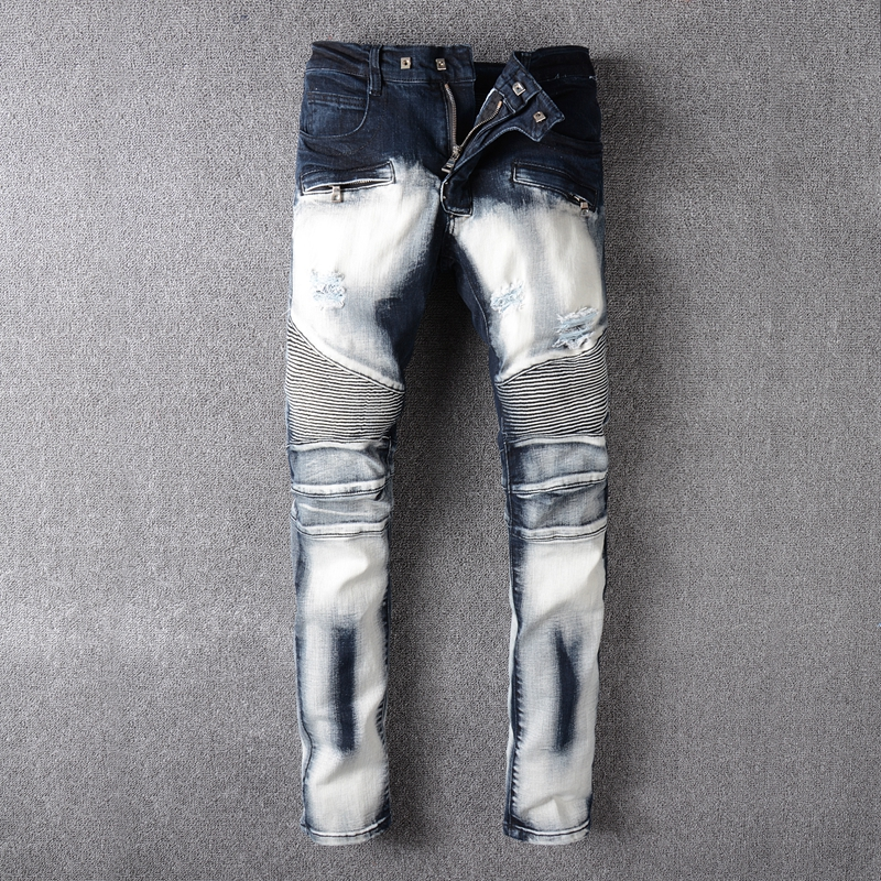 Mens Ripped Jeans Men Runway Distressed Slim Elastic Jeans Motorcycle Denim cargo pants Hip Hop Pants Washed Pleated Biker Jeans