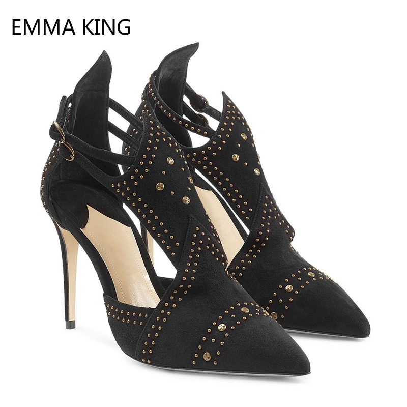 Black Suede Pumps Women Shoes Studs Pointed Toe Sexy Stiletto Heels Shoes Leather Designer Rivets Buckle Strap Ladies High Heels