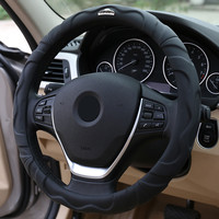 4a94318cf Universal 38cm Black Leather Car Steering Wheel Cover Four Seasons Beige  Anti Slip Auto Steering Cover