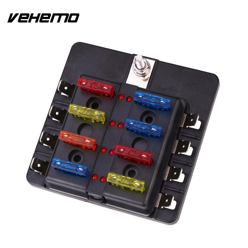 Vehemo Fuse Box 8Way LED Indicator Light Fuse Indicator Safety PC Wiring Terminal Black