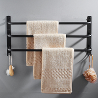 Bathroom towel hanger 304 stainless steel bathroom towel bar three pole black non perforated bathroom hardware pendant set