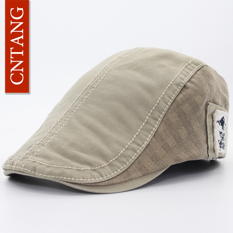 905bf9622eb CNTANG Men Fashion Designer White Label Visor Hats Casual Cotton Berets  Vintage Flat Caps For Men Summer Autumn Beret Adjustable on Aliexpress.com
