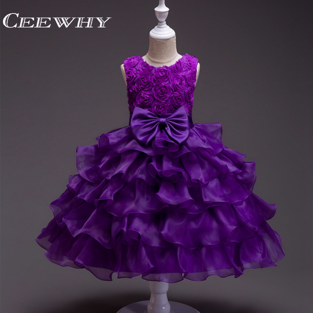 CEEWHY Ruffles Ball Gown   Girls   Choir Chorus   Dress   Performance Stage   Dress   Short Prom   Dresses   For   Girls     Flower     Girl     Dresses