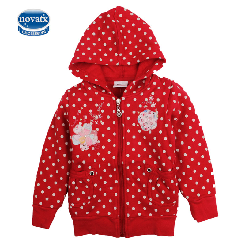 nova new design kids clothes warm long sleeve embriodery fashion child jackets kids wear polka dot soft good girl coat winter new fashion autumn winter girl dress polka dot