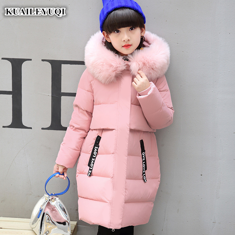 -30 degree Children's duck down jacket for Girl clothes Outerwear fur long model warm baby jackets girls Winter coat Cold parka 2018 cold winter warm thick baby child girl hoody long outerwear pink duck down