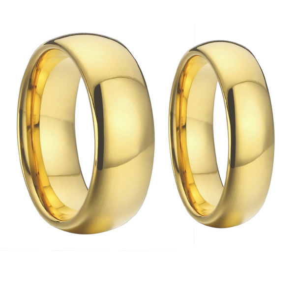classic gold color titanium steel wedding bands promise couple rings