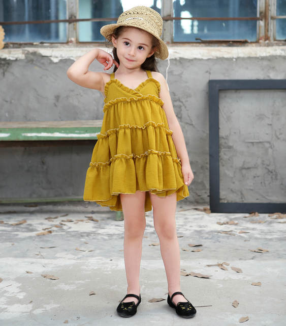 d70212d240 placeholder Cute Baby Girls Party Tutu Strap Cotton Linen Organic Green Red  Yellow Dress Baby Kids Cloth