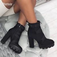 2019 New Fashion Spring Autumn Platform Ankle Boots Women 12cm Thick Heel Platform Boots Ladies Worker Boots Black Big Size 41