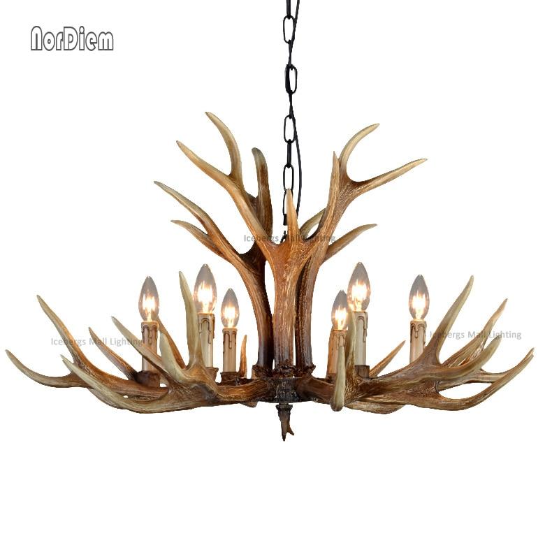 Europe 6 Heads Brown E14 Deer Horn Antler Pendant Lamp Vintage Mediterranean Resin Antler Candle Lamp Decor Suspension Luminaire