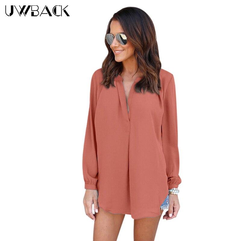 Uwback D'été Blouses pour Femmes V-cou En Mousseline de Soie Blouses Pleine Manches Femme Chemise Mode Feminina Camisas Blusas Plus La Taille, EB535