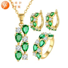 FYM Fashion Women Wedding Bridal Jewelry Sets Yellow Gold Plated Green Cubic Zirconia Pendant Necklace Hoop Earring Rings Sets fym clear white cubic zirconia jewelry sets yellow gold plated crystal pendant necklace earrings ring sets for women wedding