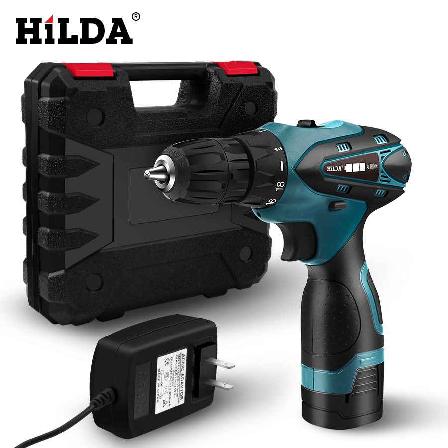 2HILDA Electric Drill Cordless Screwdriver Lithium Battery  Mini Drill Cordless Screwdriver Power Tools With Plastic Case