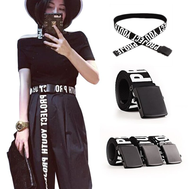 Woman Gothic Harajuku Street   Belt   Canvas Punk Letters Printed Decoration Loop Shaped Mental Buckle Jeans Waist   Belt   2019 new