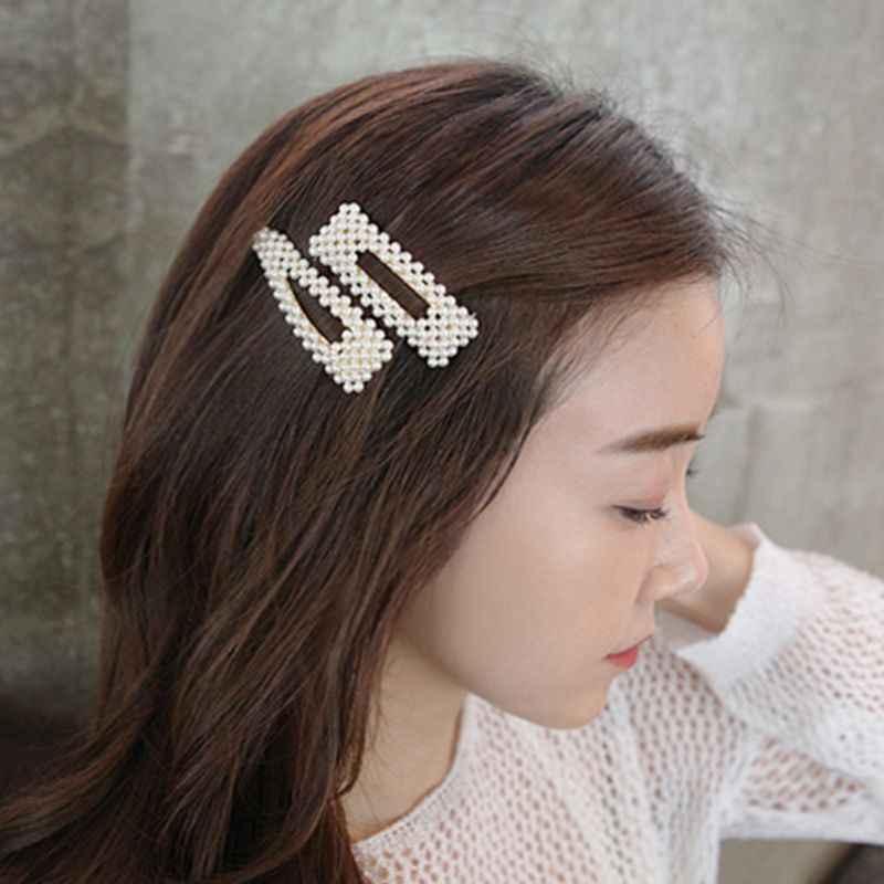 Корейский стиль для женщин обувь для девочек сплав геометрический BB заколки волос Роскошные несколько рядов нерегулярные искусственный жемчуг