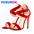 Faux Velvet Women Pumps Shoes Red Sexy High Heels Sandals Platform Strappy Summer Style Wedding Shoes