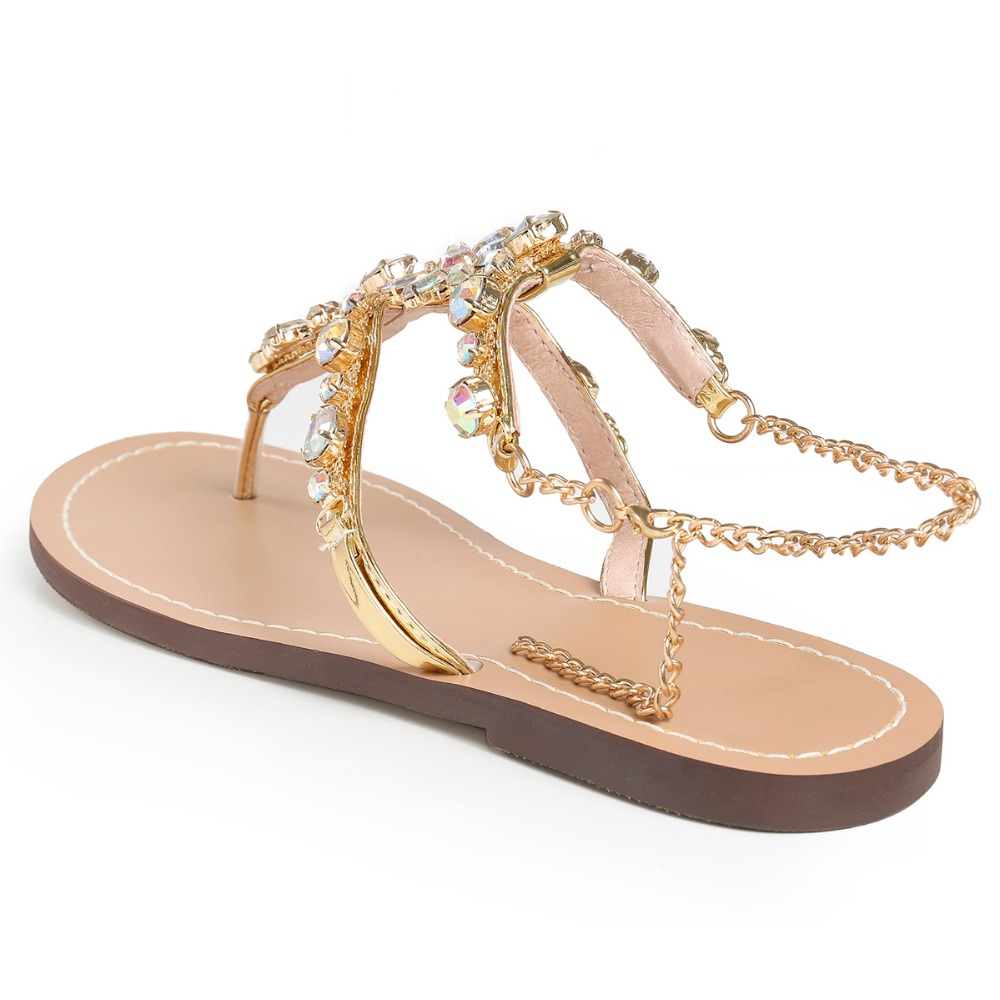Rhinestones Chains Thong Gladiator Flat Women Sandals 2
