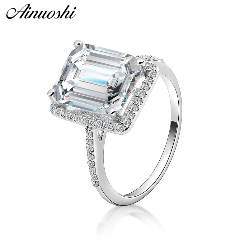 AINOUSHI Fashion 925 Sterling Silver Wedding Engagement 4ct Emeralded Halo Ring Silver Anniversary Party Ring Jewelry
