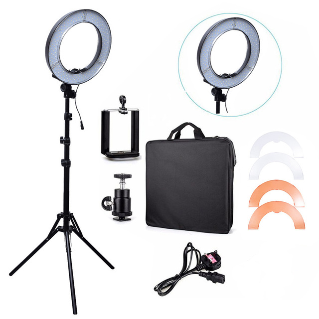 RL-12 180 pcs Lamp 14'' LED Camera Video Ring Light 5500K Outdoor Video Photography Lighting Kit with 2M Tripod Stand