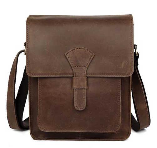 b00eb81ede1d ... Мужская сумка из натуральной кожи через плечо темно-коричневая  винтажная стильная сумка для iPad crazy