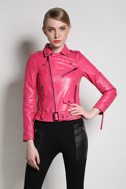 79e0e2a91 Women Genuine leather Jackets Sheep real leather Motorcycle Jacket Red  black pink S 3XL high quality biker coat Bomber hot sale-in Leather & Suede  ...
