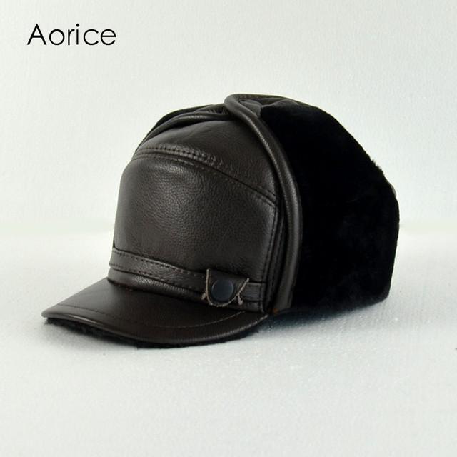HL145-M genuíno boné de beisebol do chapéu de couro dos homens de couro reais dos homens de pele sólida adulto chapéus ajustáveis tampas com pele do falso dentro