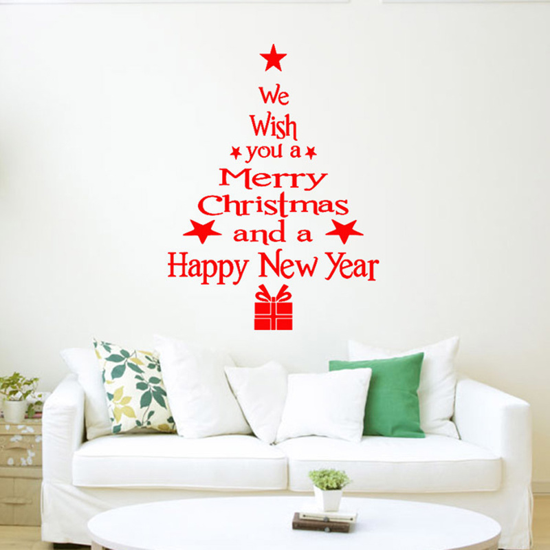 1pc Christmas Tree Decoration Christmas Snowflake Party Wall Sticker For Window Shop Decals Home Glass Poster Sticke Mural Wall Wall Stickers