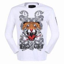 Mode PP crâne hommes chemise à manches longues o-cou De Luxe marque vêtements casual t-shirt hip hop tops tee Mâle Coton Chemise Asie Taille(China (Mainland))