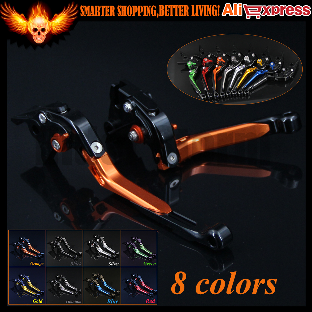 Orange+Black 8 Colors New CNC Adjustable Folding Extendable Motorcycle Brake Clutch Levers For KTM ADVENTURE 1050 2016 new brand 8 colors optional brake lever black folding