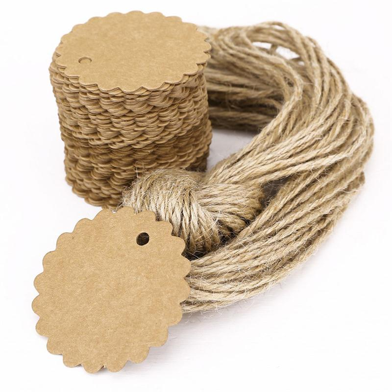 100pcs DIY Tag Round Scalloped Kraft Paper Card Gift Tag Luggage Tag Price Label for Wedding Decoration 60cm