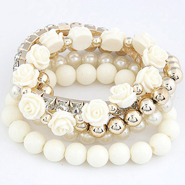 Fashion Summer Jewelry Beads Flower Bijoux Charm Bracelets  Bangles for Women Elastic Pulseira Feminina Pulseras Mujer