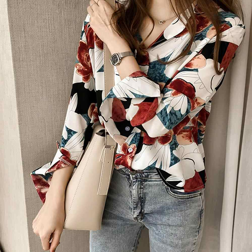 New Autumn Long sleeve Blouse Fashion Women Top Chic Lapel Shirt  Printing Long Sleeve Loose Blouse Chemise Longue Femme A55