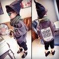 A nova edição han 2016 clothing meninos letras grandes das crianças do sexo feminino de lã casaco batwing casaco fã chao