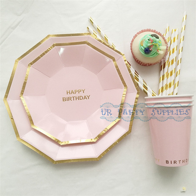 16 Sets Disposable Pink Tableware Happy Birthday Foil Gold Hexagon Paper  sc 1 st  AliExpress.com : pink disposable plates - pezcame.com