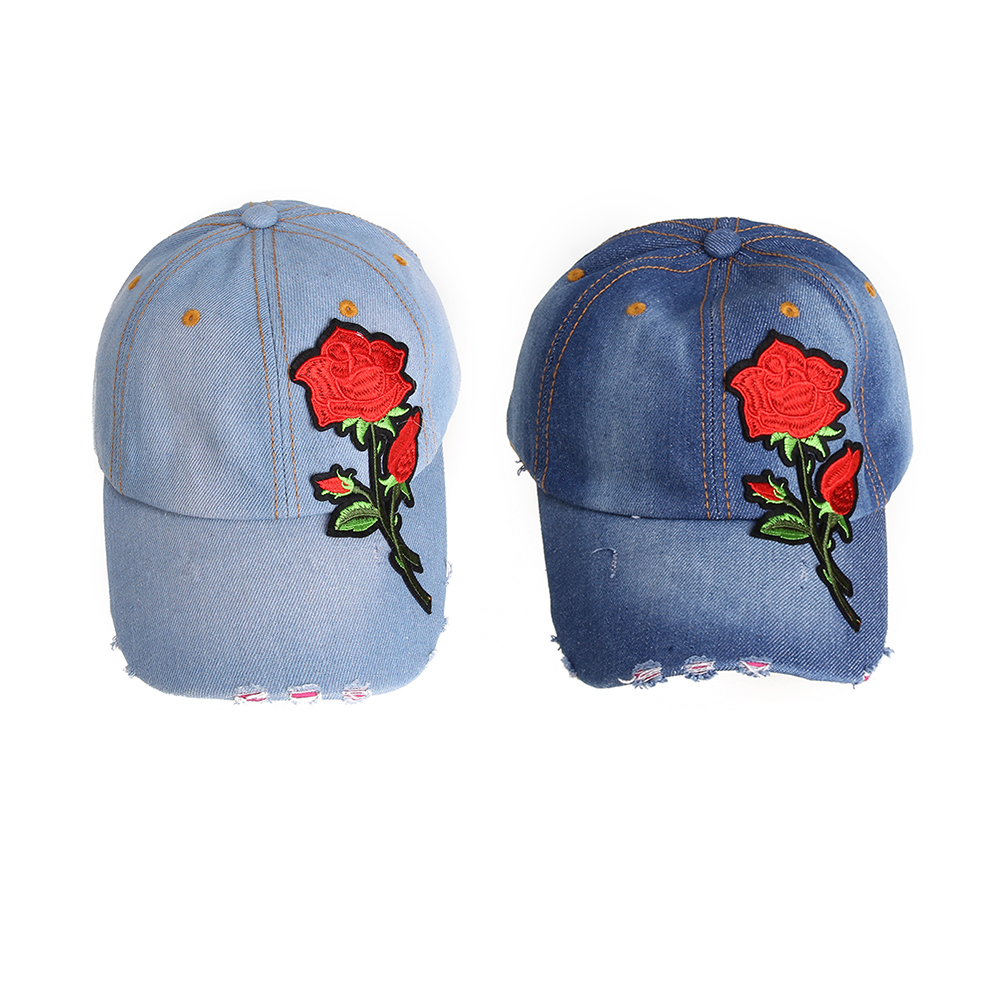 beyond your imagination Washed Denim Baseball Cap Adjustable Size Embroidery Rose Flower Unisex Casual Rose Embroidery Sun Cap Jeans Snapback Cap TNN#