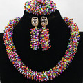 Amazing Multicolor Broken Beads Seed Gifts African Party Jewelry Set Choker Necklace Earrings Bracelet Set Free Shipping QW291