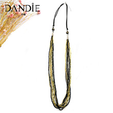 Dandie seed bead long necklace with printed ceramic and multicolor chain design