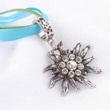Crystal Ethnic Style Bavarian Germany CZ Rhinestone Oktoberfest Edelweiss Necklace