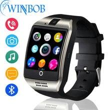 Ограниченное предложение Смарт-часы Q18 плюс тактовую синхронизацию уведомлений Поддержка sim-карты SD Bluetooth Подключение телефона Android Smartwatch Спорт Шагомер