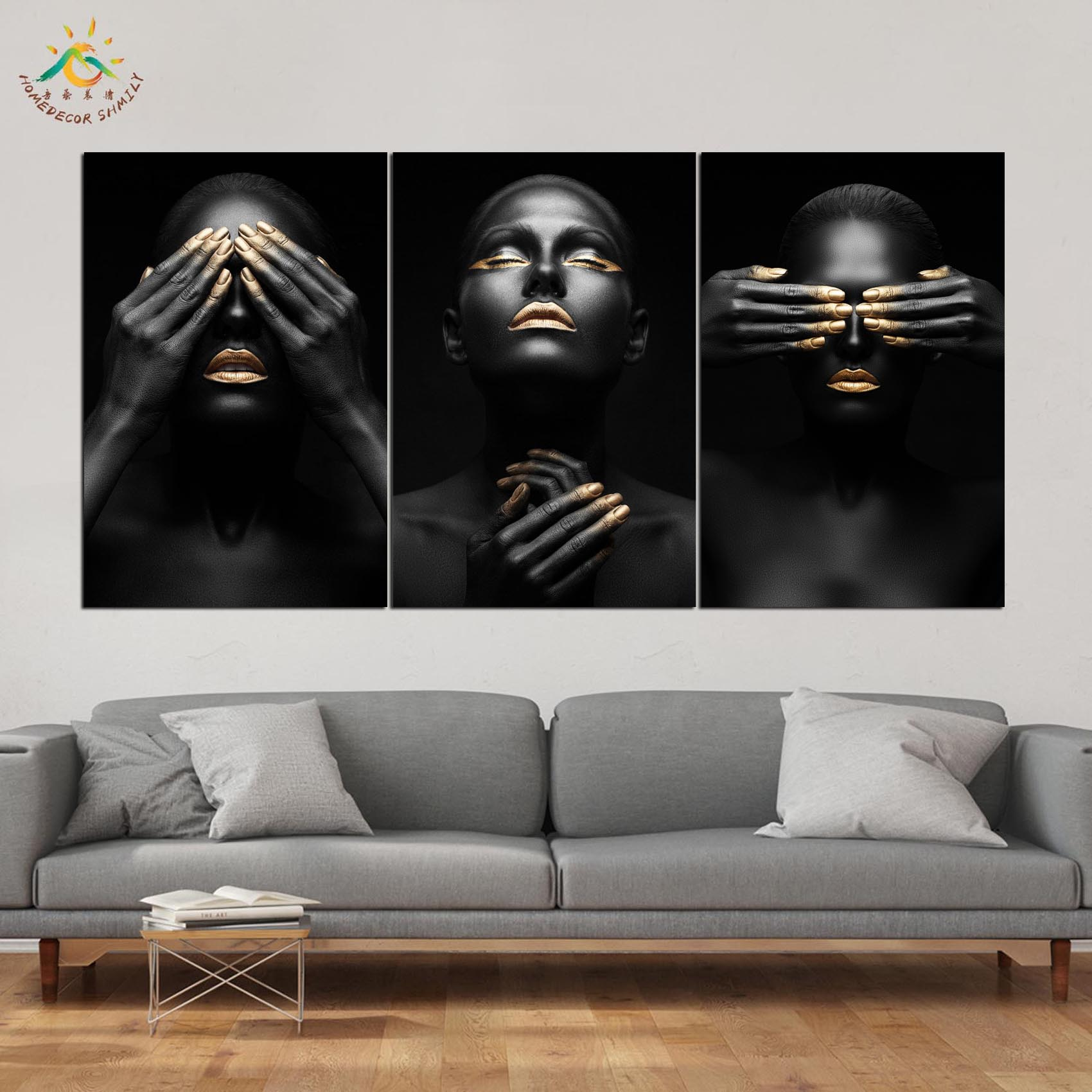 Black Face Pose Modern Canvas Art Prints Poster Wall Painting Home Decoration Pictures for Bedroom 3 PIECES