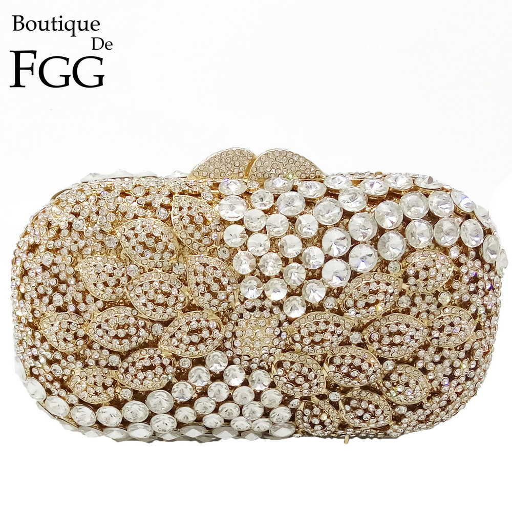 Gold & Clear Crystal Paisley Panelled Hollow Out Women Diamond Evening Clutch Bags Wedding Party Prom Handbags Metal Clutches golden stones women evening clutch bags brand hollow out diamond crystal bridal wedding handbags metal clutches shoulder purse