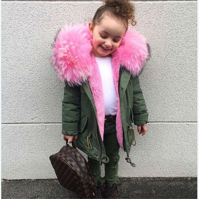Special Offers Winter Baby Jackets for Girls Coat Kids Big Faux Fur Collar Removable Thicken Hoodie Outerwar Boy Parka Overcoat Children Clothe