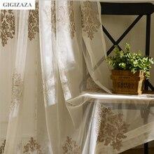 Mrs John white jaquard voile curtains for livingroom rod pocket tulle drape transparent window sheer  process  size