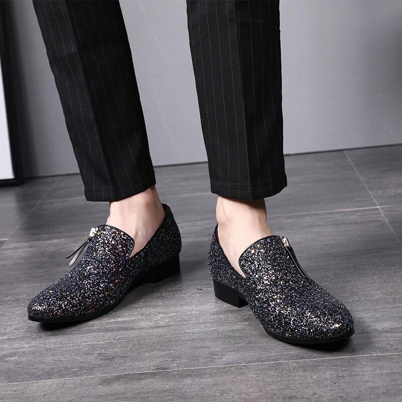 Noir marron Slip Classiques Mariée Chaussures Appartements Sur H273 Robe De Mocassins Mâle Formelles Hommes WnFq7FH