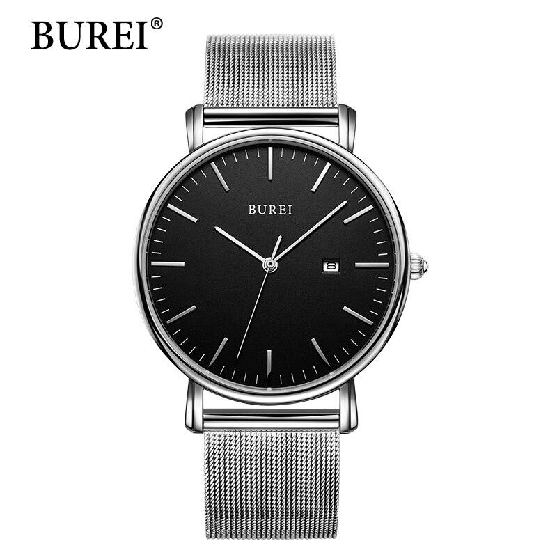 BUREI New Classic Women Fashi Watches Couple Lover Wristwatch Gift Black Steel Band Auto Date Quartz