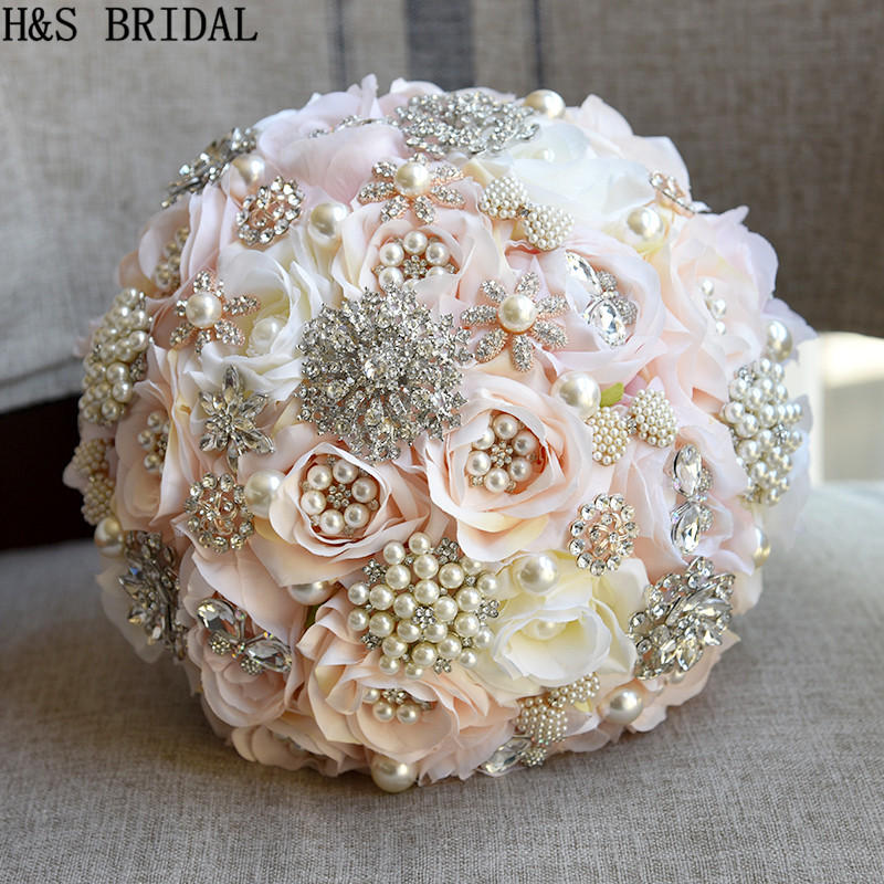 Image 4 - H&S BRIDAL Round Blush Wedding Bouquet Teardrop Butterfly Brooch Bouquet Alternative Cascading Bouquets Crystal Wedding Flowers-in Wedding Bouquets from Weddings & Events