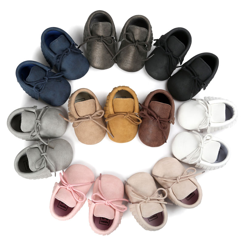 2017 New arrival Hot sale Lace-up Jeans Baby Moccasins Bebe Fringe Soft Soled Non-slip Footwear Crib Shoes PU Leather baby shoes