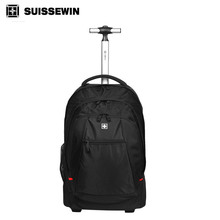 Brand Swiss Wheeled Laptop Backpack For Business Travel Rolling Trolley Backpack for 17.3″ Noebook Big Black Check in Bags