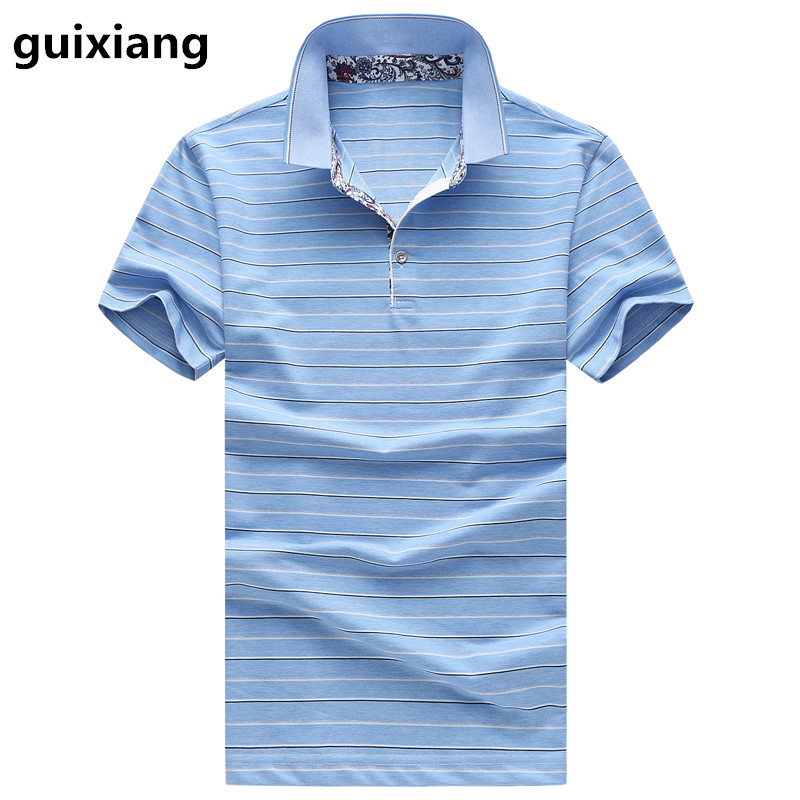 2017 summer new style Men's leisure fashion stripe   Polo   shirts Men's high quality silk short sleeves   Polo   shirt size M -6XL